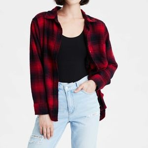 2/$25 Red black buffalo plaid oversized flannel